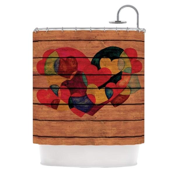 KESS InHouse Louise Machado Wooden Heart Shower Curtain (69x70)