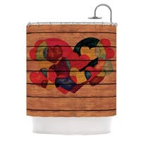 KESS InHouse Louise Machado Wooden Heart Shower Curtain (69x70)