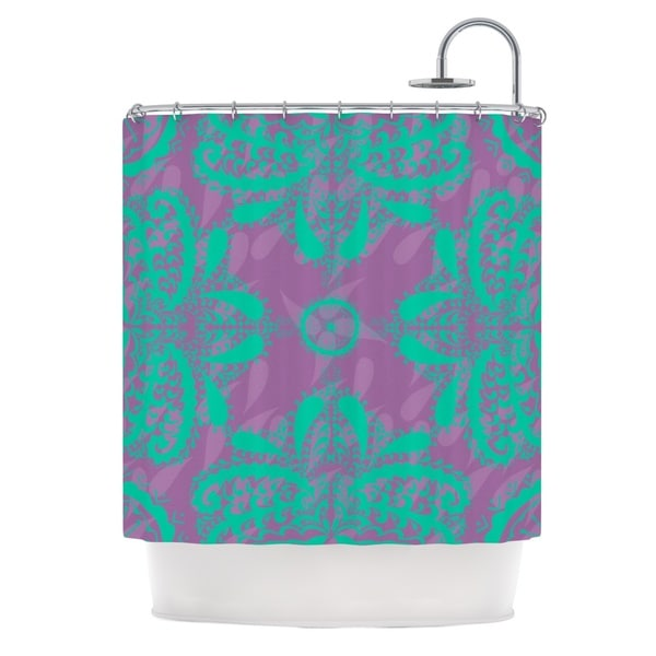 KESS InHouse Nandita Singh Motifs in Green Purple Floral Shower Curtain (69x70)