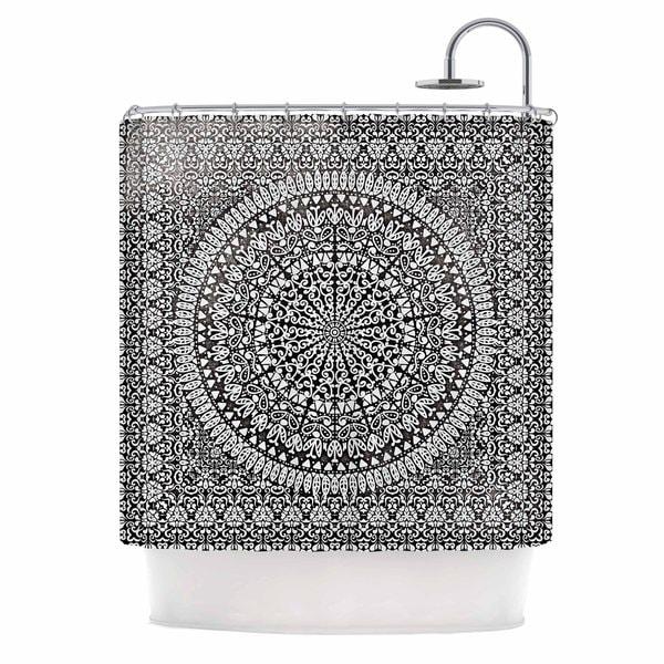 KESS InHouse Nika Martinez Mandala Bandana Black Abstract Shower Curtain (69x70)