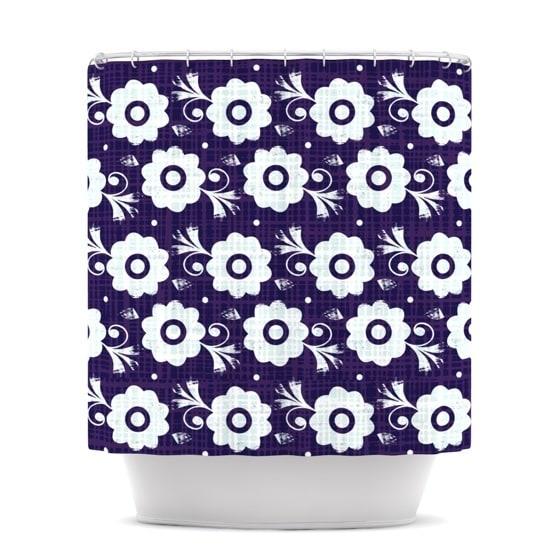 KESS InHouse Louise Machado Navy Flower Purple White Shower Curtain (69x70)