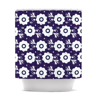KESS InHouse Louise Machado Navy Flower Purple White Shower Curtain (69x70)