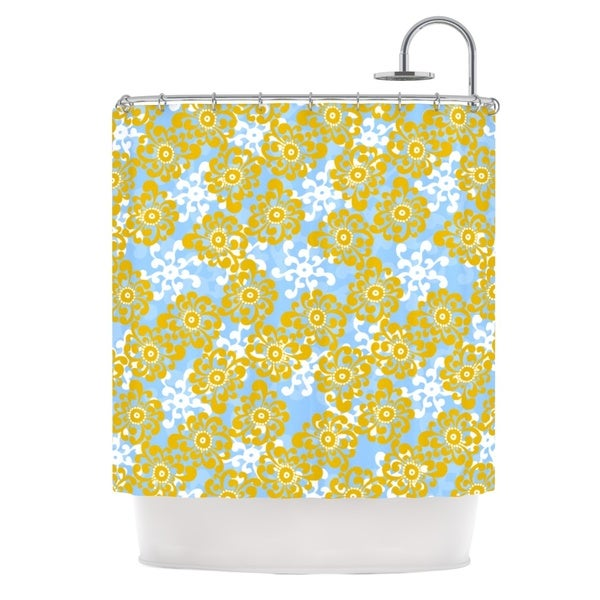 KESS InHouse Nandita Singh Blue and Yellow Flowers Alternate Gold Floral Shower Curtain (69x70)