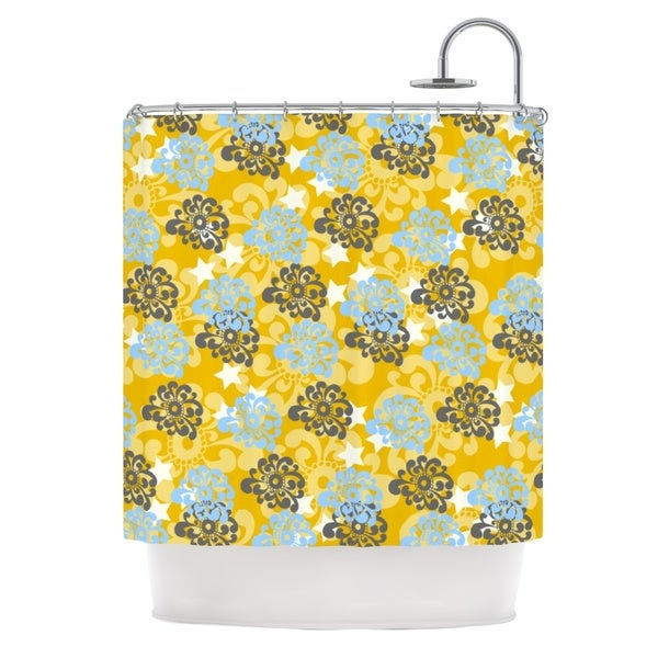 KESS InHouse Nandita Singh Blue and Yellow Flowers Gold Floral Shower Curtain (69x70)