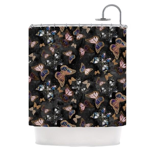 KESS InHouse Nikki Strange Galactic Butterfly Black Brown Shower Curtain (69x70)