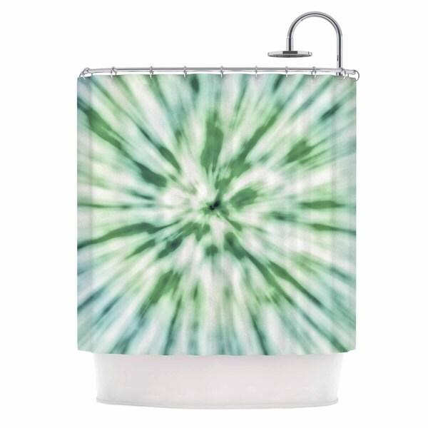 KESS InHouse Nika Martinez Green Spring Tie Dye Green Blue Shower Curtain (69x70)
