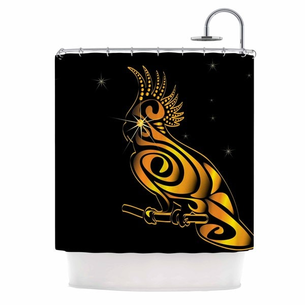 KESS InHouse Maria Bazarova Parrot Gold Black Shower Curtain (69x70)