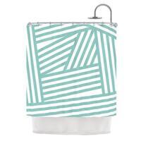 KESS InHouse Louise Machado Aqua Stripes Shower Curtain (69x70)