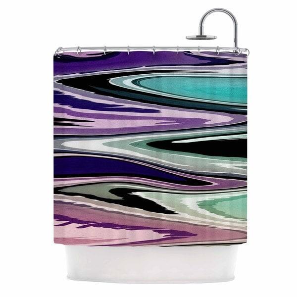KESS InHouse Nika Martinez Colorful Beach Waves Abstract Purple Shower Curtain (69x70)