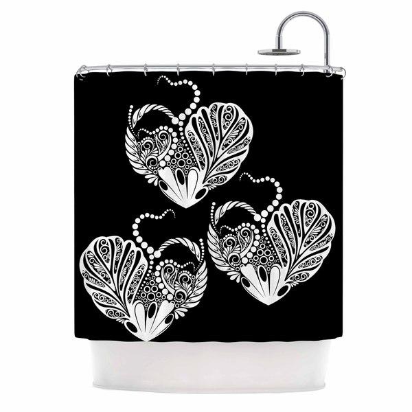 KESS InHouse Maria Bazarova Three Hearts Black White Shower Curtain (69x70)