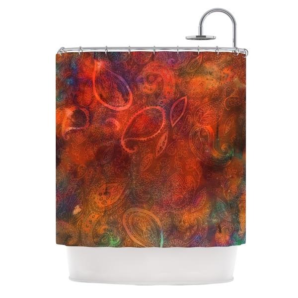 KESS InHouse Nikki Strange Tie Dye Paisley Orange Red Shower Curtain (69x70)