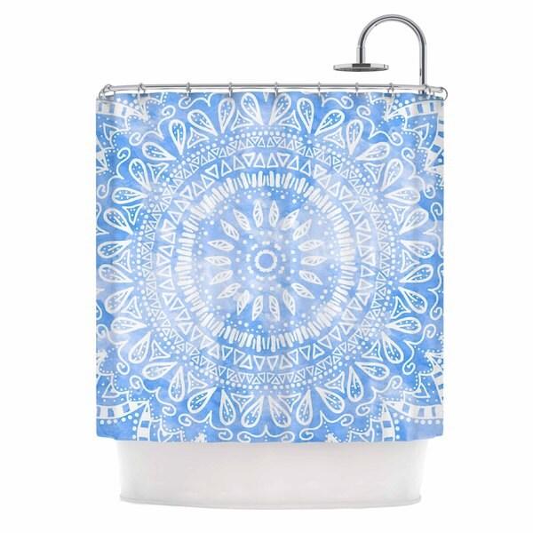 KESS InHouse Nika Martinez Boho Flower Mandala in Blue Aqua Shower Curtain (69x70)
