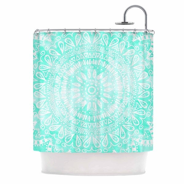KESS InHouse Nika Martinez Boho Flower Mandala in Teal Aqua Green Shower Curtain (69x70)