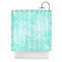 KESS InHouse Nika Martinez Boho Flower Mandala in Teal Aqua Green Shower Curtain (69x70)