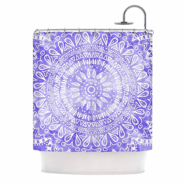 KESS InHouse Nika Martinez Boho Flower Mandala in Purple Lavender Shower Curtain (69x70)