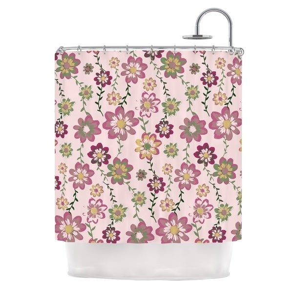 KESS InHouse Nika Martinez Romantic Flowers in Pink Blush Floral Shower Curtain (69x70)