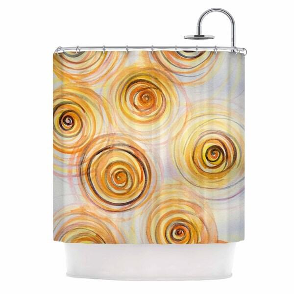 KESS InHouse Maria Bazarova Spirals Yellow Gold Shower Curtain (69x70)