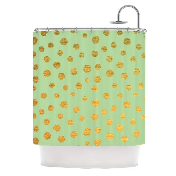 KESS InHouse Nika Martinez Golden Dots and Mint Green Gold Shower Curtain (69x70)