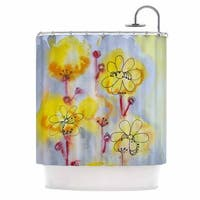 KESS InHouse Maria Bazarova Yellow Flowers Blue Pink Shower Curtain (69x70)