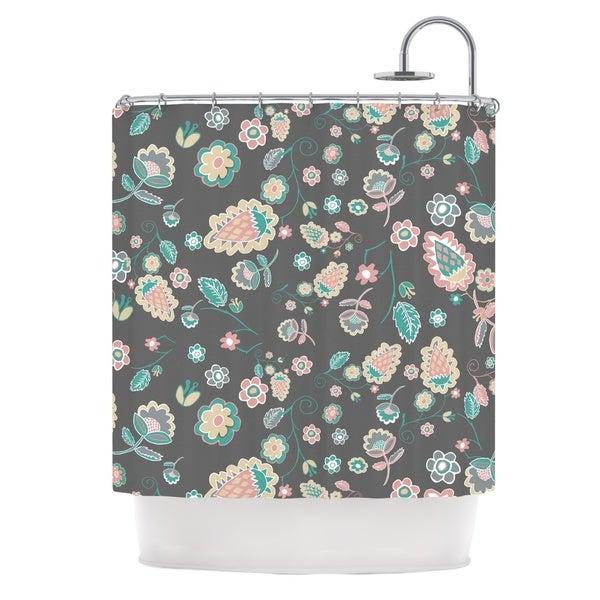 KESS InHouse Nika Martinez Cute Winter Floral Gray Pastel Shower Curtain (69x70)