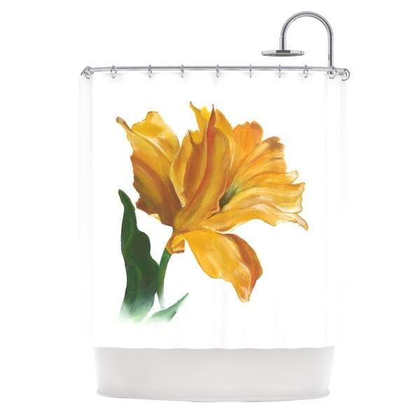 KESS InHouse Lydia Martin Yellow Tulip Shower Curtain (69x70)