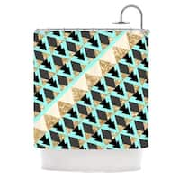 KESS InHouse Nika Martinez Glitter Triangles in Gold & Teal Blue Brown Shower Curtain (69x70)
