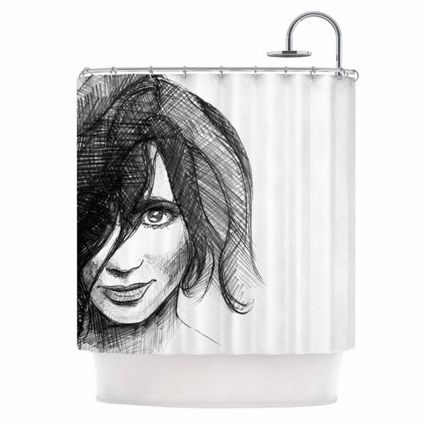 KESS InHouse Maria Bazarova Self Portrait Balck White Shower Curtain (69x70)