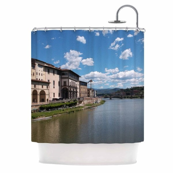 KESS InHouse Nick Nareshni Canals Of Italy Blue Travel Shower Curtain (69x70)