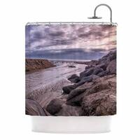 KESS InHouse Nick Nareshni Clouds Over Carlsbad Beach Blue Coastal Shower Curtain (69x70)
