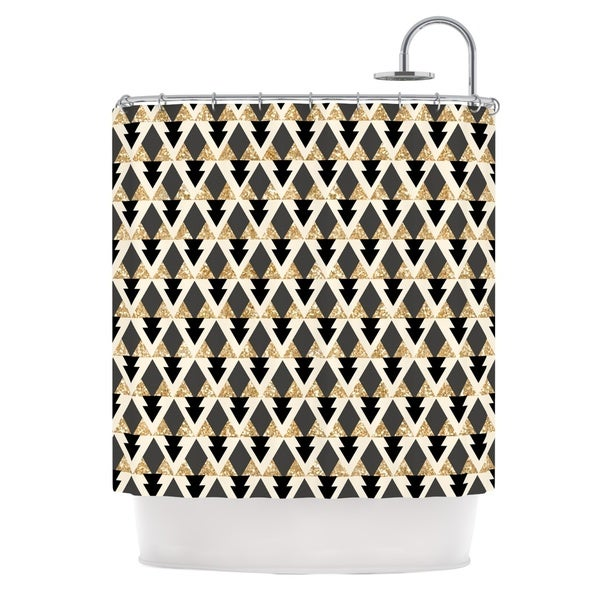 KESS InHouse Nika Martinez Glitter Triangles in Gold & Black Geometric Shower Curtain (69x70)