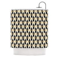 KESS InHouse Nika Martinez Glitter Triangles in Gold & Black Geometric Shower Curtain (69x70) - 69 x 70