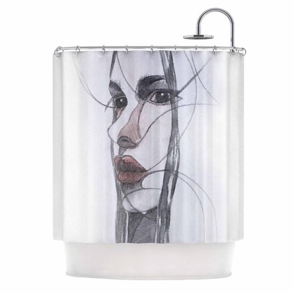KESS InHouse Maria Bazarova Young Girl Red Black Shower Curtain (69x70)
