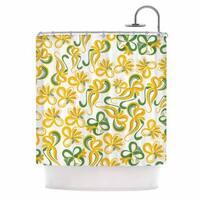 KESS InHouse Maria Bazarova Green Yellow Flowers Abstract Digital Shower Curtain (69x70)