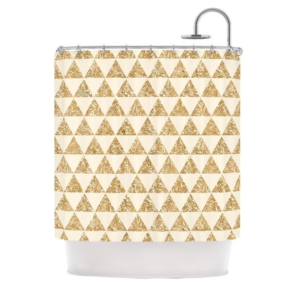 KESS InHouse Nika Martinez Glitter Triangles in Gold Tan Yellow Shower Curtain (69x70)