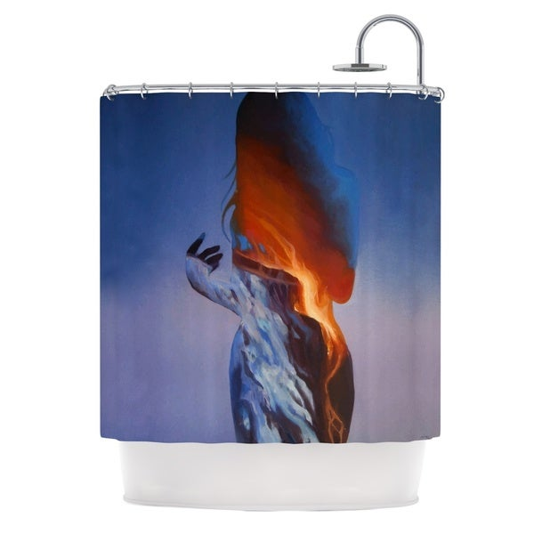 KESS InHouse Lydia Martin Volcano Girl Blue Shower Curtain (69x70)