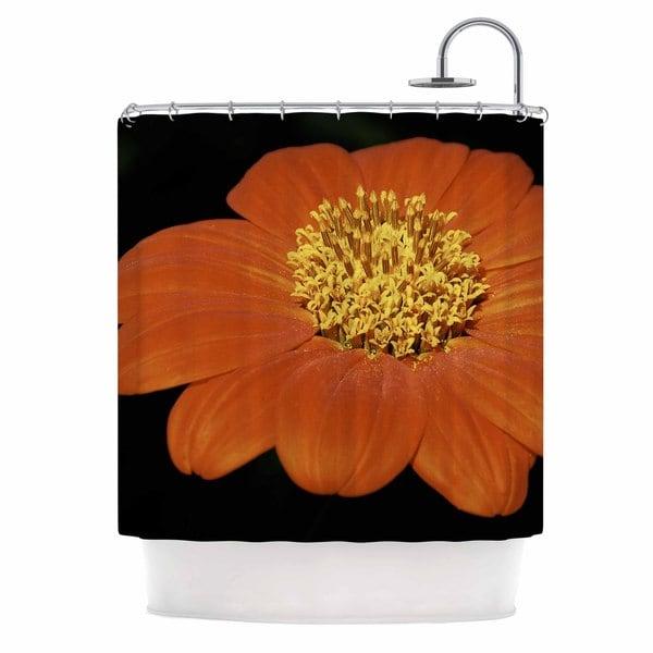 KESS InHouse Nick Nareshni Open Wide Red Flower Beige Red Shower Curtain (69x70)