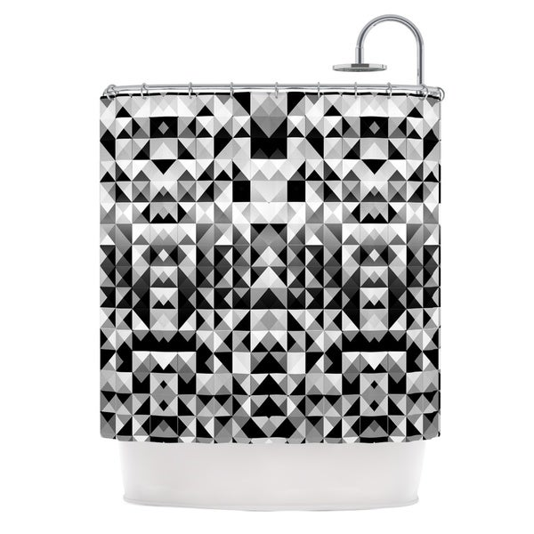KESS InHouse Nika Martinez Geometrie Black & White Gray Shower Curtain (69x70)