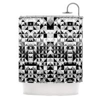 KESS InHouse Nika Martinez Geometrie Black & White Gray Shower Curtain (69x70)