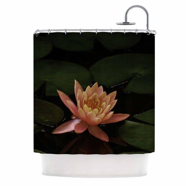 KESS InHouse Nick Nareshni Lily Pad Flower Coral Green Shower Curtain (69x70)