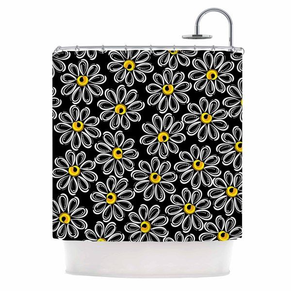 KESS InHouse Maria Bazarova Chamomile Yellow Floral Shower Curtain (69x70)