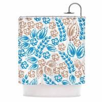 KESS InHouse Maria Bazarova Blue White Flowers Abstract Beige Shower Curtain (69x70)