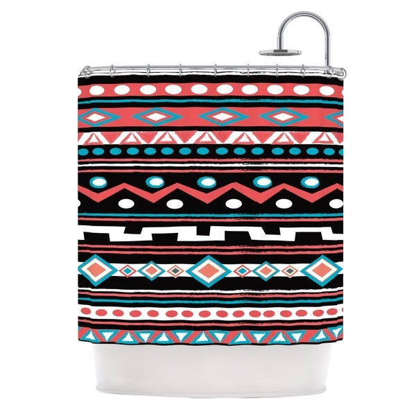 KESS InHouse Nika Martinez Black Tipi Red Tribal Shower Curtain (69x70)