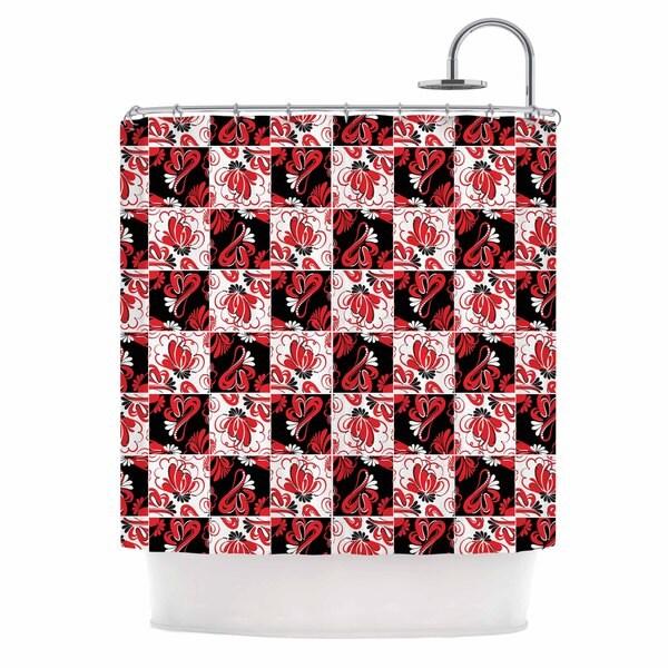 KESS InHouse Maria Bazarova Texture Red Flowers Black Abstract Shower Curtain (69x70)