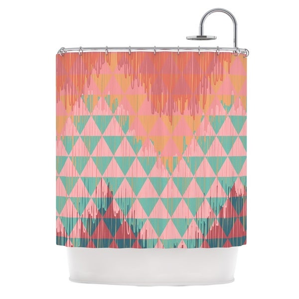 KESS InHouse Nika Martinez Ikat Geometrie II Green Pink Shower Curtain (69x70)