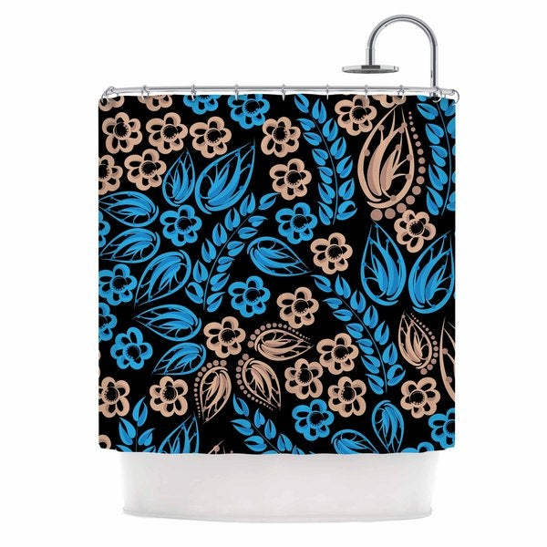 KESS InHouse Maria Bazarova Blue Flowers Black Floral Shower Curtain 69x70