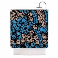 KESS InHouse Maria Bazarova Blue Flowers Black Floral Shower Curtain (69x70) - 69 x 70