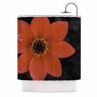 KESS InHouse Nick Nareshni Wet Red Flower Petals Red Black Shower Curtain (69x70)