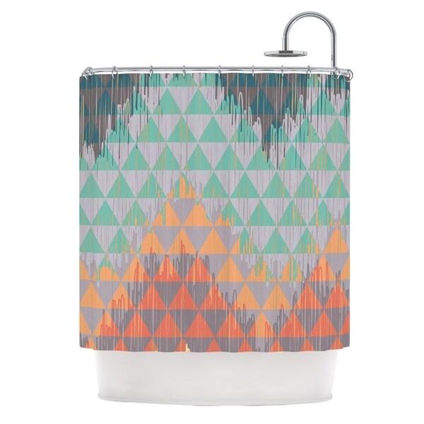 KESS InHouse Nika Martinez Ikat Geometrie Green Orange Shower Curtain (69x70)
