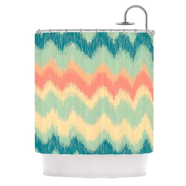 KESS InHouse Nika Martinez Ikat Chevron II Teal Shower Curtain (69x70)