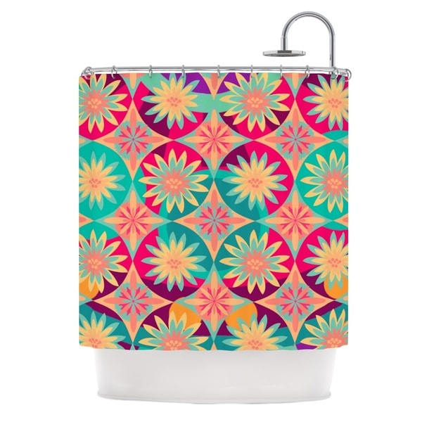 KESS InHouse Nika Martinez Happy Flowers Floral Abstract Shower Curtain (69x70)